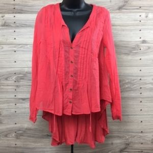 Free People coral pintuck tunic